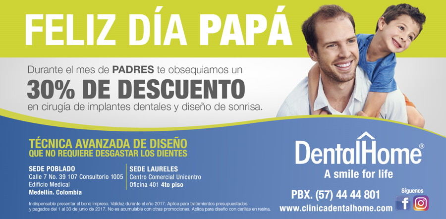 Fathers day dental implant promo in medellin, colombia